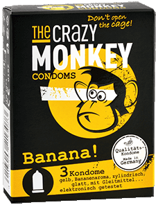 The Crazy Monkey Condoms - Banana! - 3 Kondome
