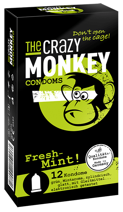 The Crazy Monkey Condoms - Fresh Mint! - 12 Kondome