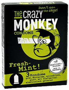 The Crazy Monkey Condoms - Fresh Mint! - 3 Kondome