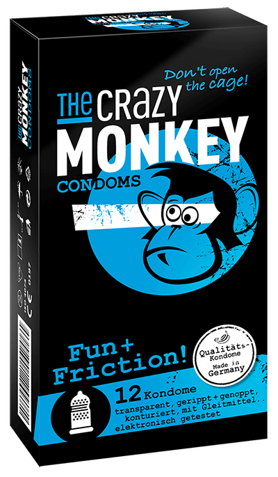 The Crazy Monkey Condoms - Fun + Friction! - 12 Kondome