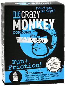The Crazy Monkey Condoms - Fun + Friction! - 3 Kondome