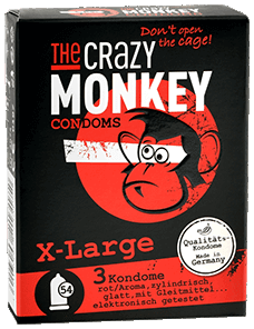The Crazy Monkey Condoms - X - Large - 3 Kondome